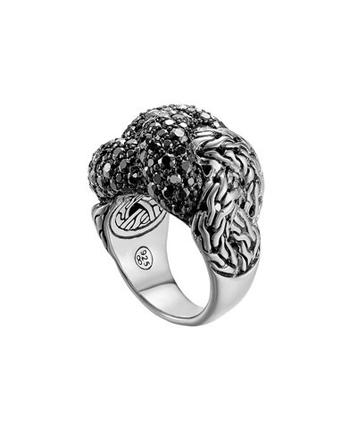 Classic Chain Silver Lava Large Braided Ring with Black Sapphire, Size 7 ...