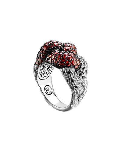 Classic Chain Silver Lava Large Braided Ring with Red Sapphire, Size 7 ...