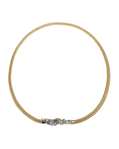 Naga Gold & Silver Small Two Tone Dragon Station Necklace, 18