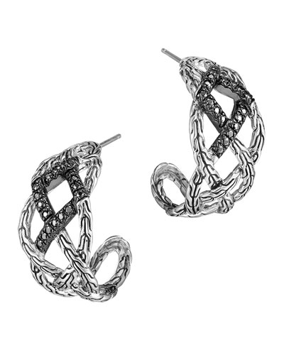 Classic Chain Silver Lava Woven Braided Saddle Hoop Earrings with Black Sapphire