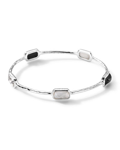Five-Stone Rectangular Bangle of Black Onyx, Quartz, and Quartz/Mother-Of-Pearl Doublet, Size 2