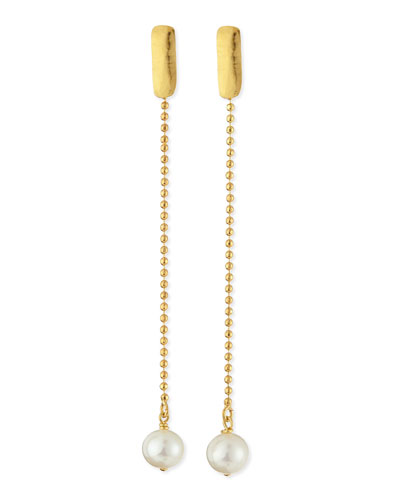 24k Gold Plated Yucata Single Pearl Drop Earrings
