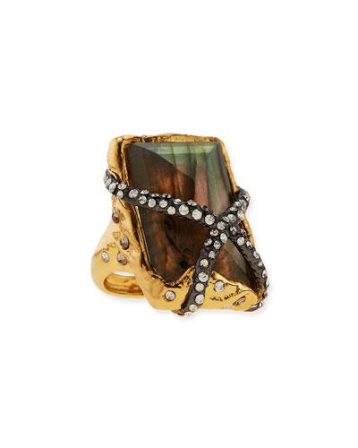 Rocky Labradorite Ring with Crystals