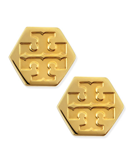 Hexagon Logo Stud Earrings Golden