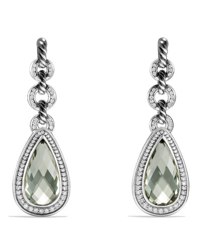 Anjou Drop Earrings with Prasiolite and Diamonds