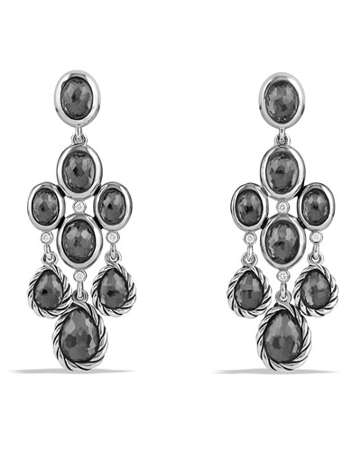 Chandelier Earrings with Hematine and Diamonds