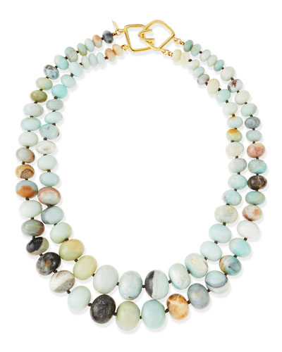 2-Strand Graduated Jade Bead Necklace