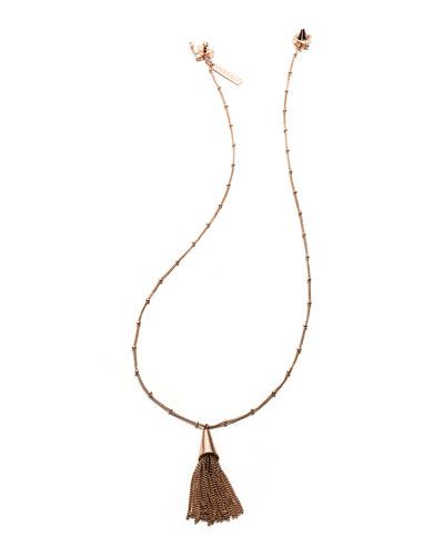 Small Rose Gold-Plated Chain Tassel Pendant Necklace
