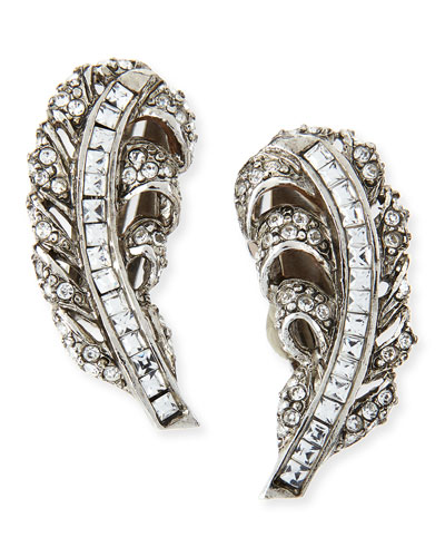 Pave Crystal Feather Clip-On Earrings