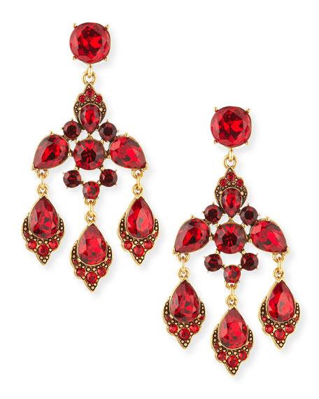 Oscar de la renta cardinal red crystal chandelier clip on earrings cardinal red crystal chandelier clip on earrings aloadofball Choice Image