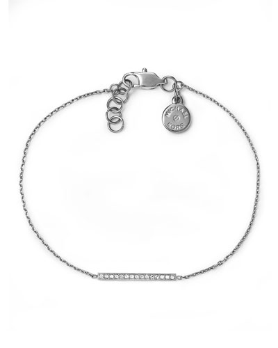 Pave Bar Delicate Bracelet, Silver Color