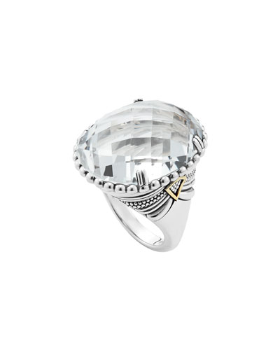 Silver White Topaz Ring with 18k Gold