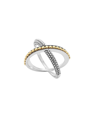 Sterling Silver & 18k Enso Crossover Ring