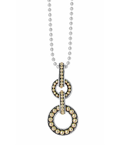 Sterling Silver & 18k Enso 2-Circle Pendant Necklace