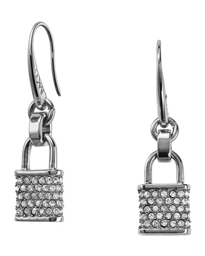 Pave Padlock Drop Earrings, Silver Color