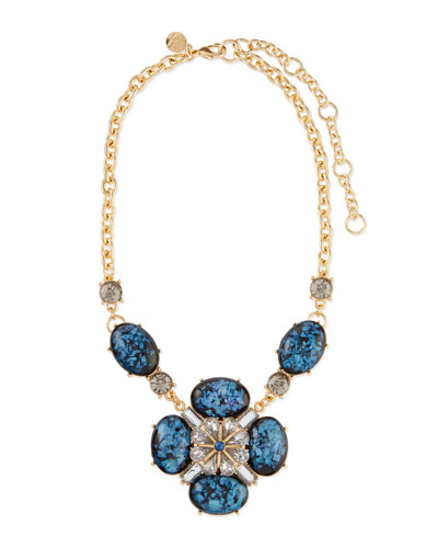 Ornate Layered Crystal Bib Necklace, Blue/Brown