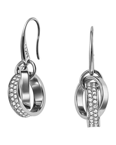 Pave Link Drop Earrings, Silver Color
