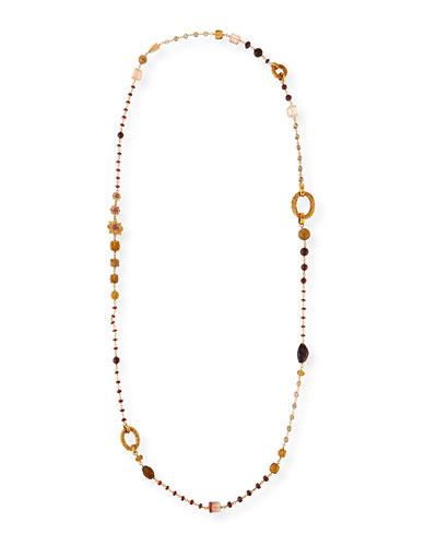 Garnet Quartz Long Necklace