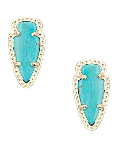 Skylette Turquoise Glass Stud Earrings