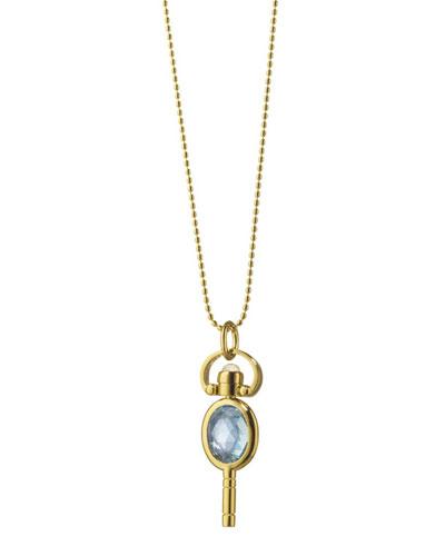 18k Gold Mini Blue Topaz Oval Pocketwatch Key Necklace
