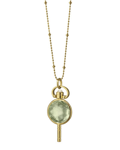 18k Gold Mini Round Prasiolite Pocketwatch Key Necklace