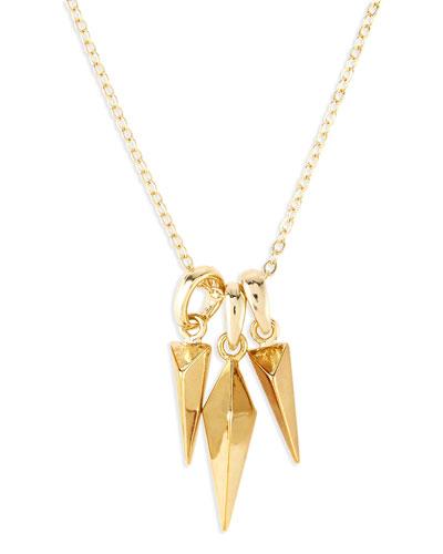 Triple Stud Charm Necklace, Golden