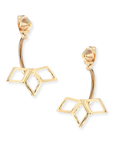 Spike Earrings with Petals, Golden