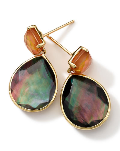 18k Gold Rock Candy Gelato Orange Citrine & Black Shell Earrings