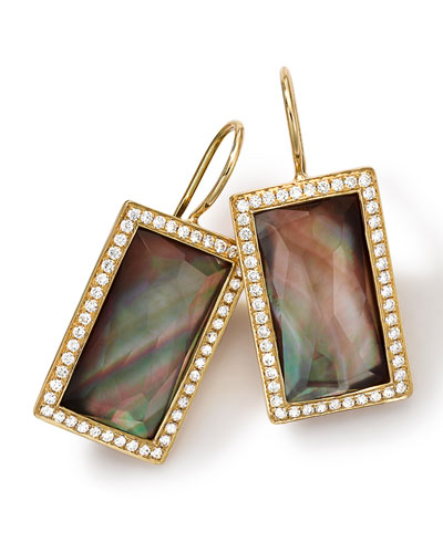 18k Gold Gelato Small Baguette Black Shell Earrings with Diamonds