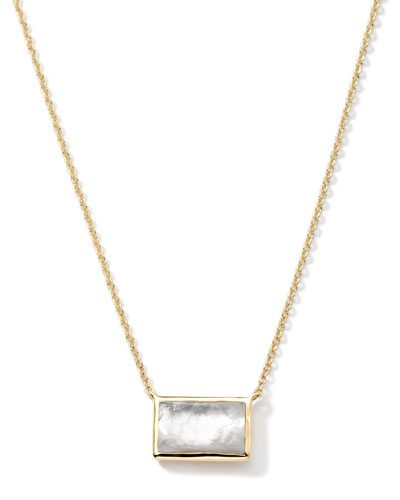 18k Gold Gelato Small Baguette Mother-of-Pearl Necklace