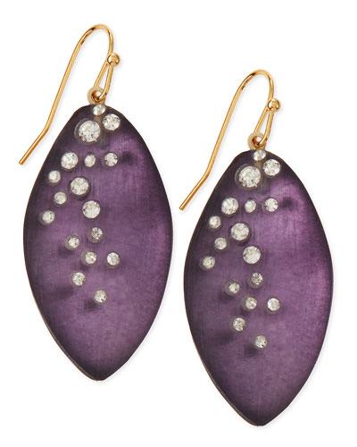 Medium Crystal-Dust Lucite Leaflet Earrings (Made to Order), Blueberry