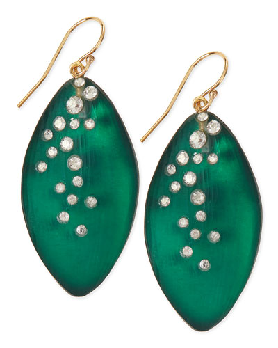 Medium Crystal-Dust Lucite Leaflet Earrings (Made to Order), Black Forest Green