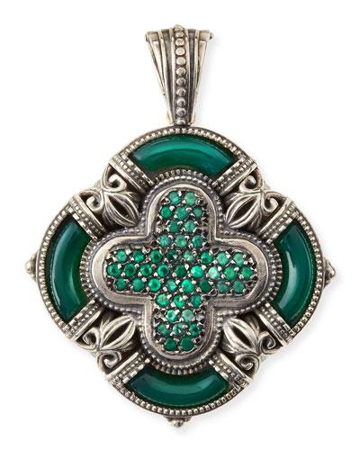 Ismene Clover Pendant with Green Agate