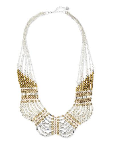 Scalloped Mixed Metal Collar Necklace, Golden