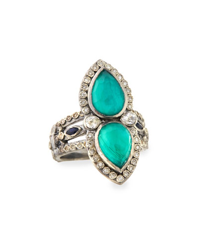 Malachite & London Blue Topaz Pear Ring