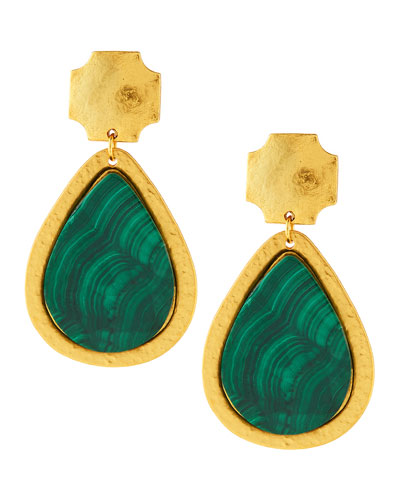 24k Gold-Dipped Russet Malachite Earrings