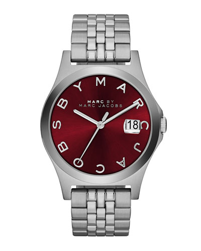 36mm The Slim Stainless Watch with Bracelet, Red Dial