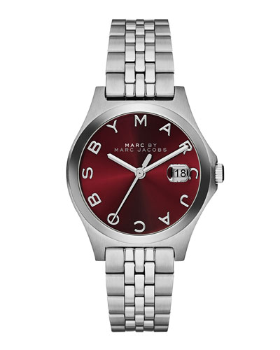 30mm The Slim Stainless Watch with Bracelet, Red Dial
