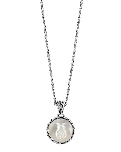 Classic Chain Silver Mother-of-Pearl Round Pendant Necklace