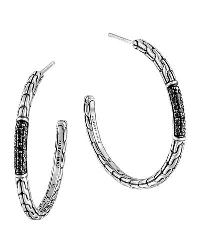 Classic Chain Medium Silver Hoop Earrings with Black Sapphires