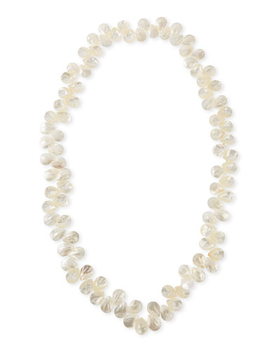 White Mother-of-Pearl Long Strand Cluster Necklace