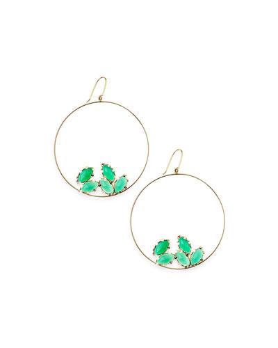 14k Gold Green Onyx Eclipse Earrings