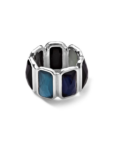 Wonderland Quartz & Mother-of-Pearl/Pyrite Brick Ring