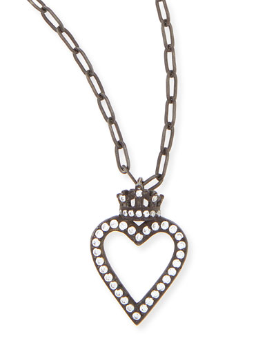 Black Crowned Open Heart Charm Necklace