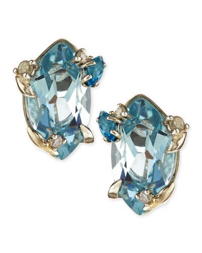 Topaz & Prong Diamond Stud Earrings