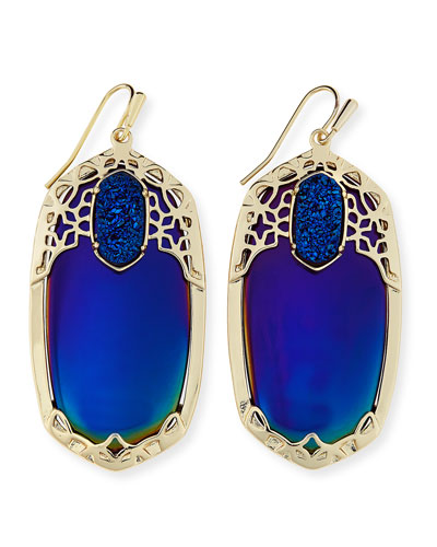 Deva Iridescent AB Plated Blue Opaque Glass Earrings