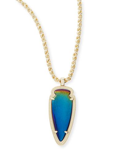 Shaylee Pendant Necklace, Black Iridescent