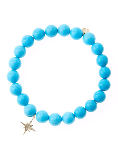 Blue Turquoise Round Beaded Bracelet with 14k Gold/Diamond Small Starburst ...