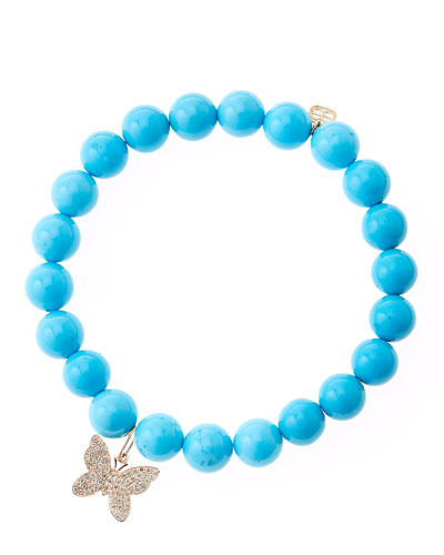 Blue Turquoise Round Beaded Bracelet with 14k Gold/Diamond Small Butterfly ...