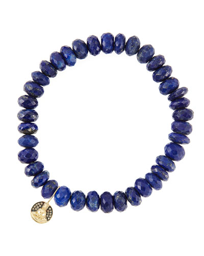 8mm Faceted Lapis Beaded Bracelet with 14k Gold/Diamond Small Buddha Charm ...